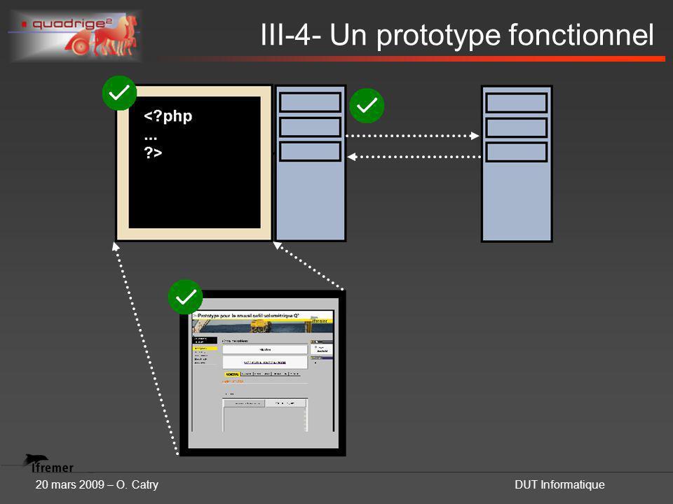 20 mars 2009 – O. CatryDUT Informatique III-4- Un prototype fonctionnel