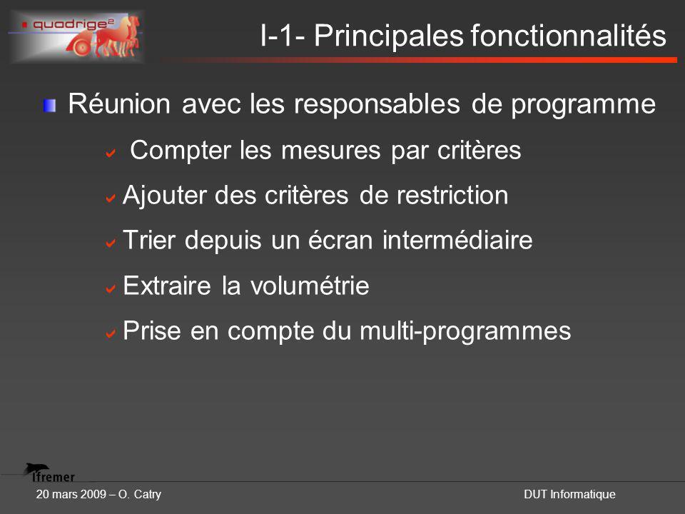 20 mars 2009 – O. CatryDUT Informatique I-1- Principales fonctionnalités Réunion avec les responsables de programme  Compter les mesures par critères