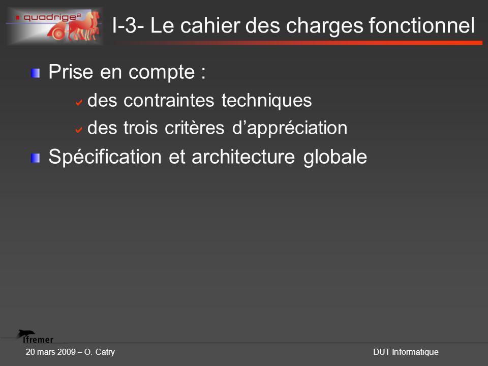20 mars 2009 – O. CatryDUT Informatique I-3- Le cahier des charges fonctionnel Prise en compte :  des contraintes techniques  des trois critères d'a