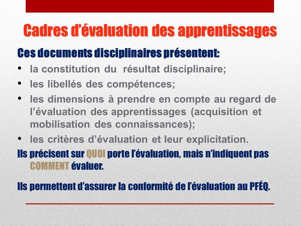 Le cadre d'évaluation des apprentissages fournit, pour chaque discipline, les balises nécessaires à l'évaluation des apprentissages afin de constituer