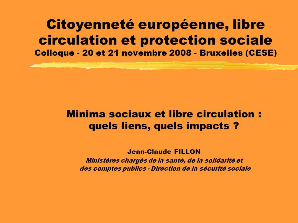 Citoyenneté européenne, libre circulation et protection sociale Colloque - 20 et 21 novembre 2008 - Bruxelles (CESE) Minima sociaux et libre circulation : quels liens, quels impacts .
