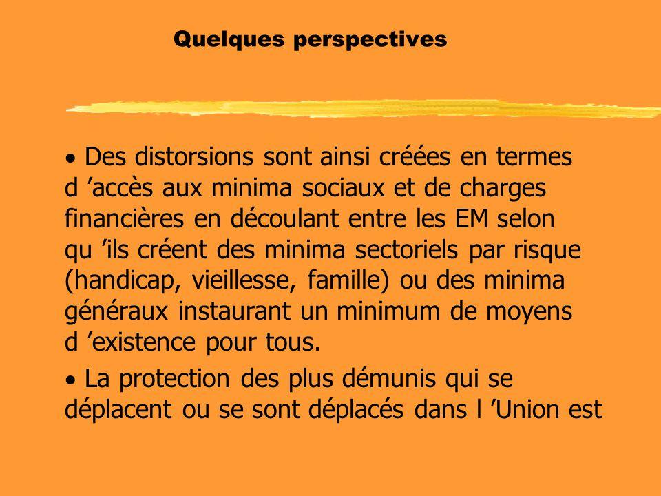 Quelques perspectives  Des distorsions sont ainsi créées en termes d 'accès aux minima sociaux et de charges financières en découlant entre les EM se