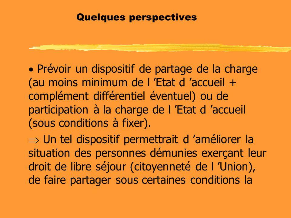 Quelques perspectives  Prévoir un dispositif de partage de la charge (au moins minimum de l 'Etat d 'accueil + complément différentiel éventuel) ou de participation à la charge de l 'Etat d 'accueil (sous conditions à fixer).