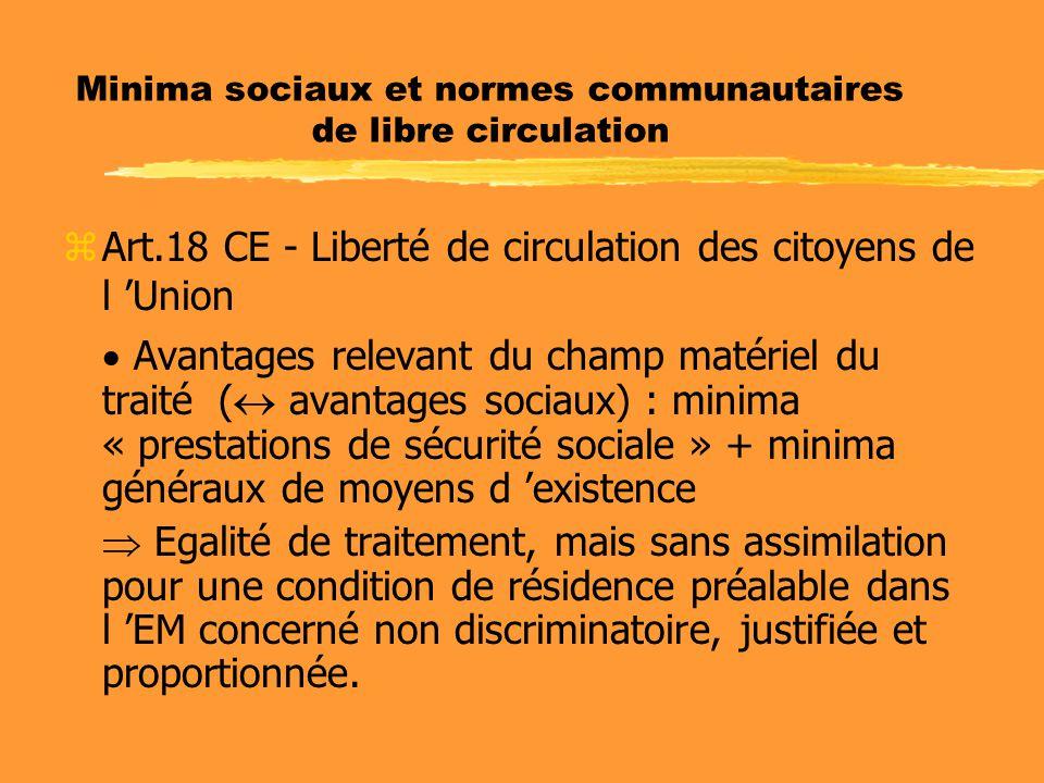 Minima sociaux et normes communautaires de libre circulation zArt.18 CE - Liberté de circulation des citoyens de l 'Union  Avantages relevant du cham