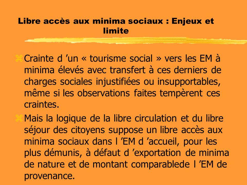Libre accès aux minima sociaux : Enjeux et limite zCrainte d 'un « tourisme social » vers les EM à minima élevés avec transfert à ces derniers de char