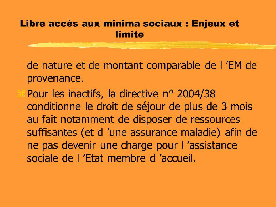 Libre accès aux minima sociaux : Enjeux et limite de nature et de montant comparable de l 'EM de provenance. zPour les inactifs, la directive n° 2004/