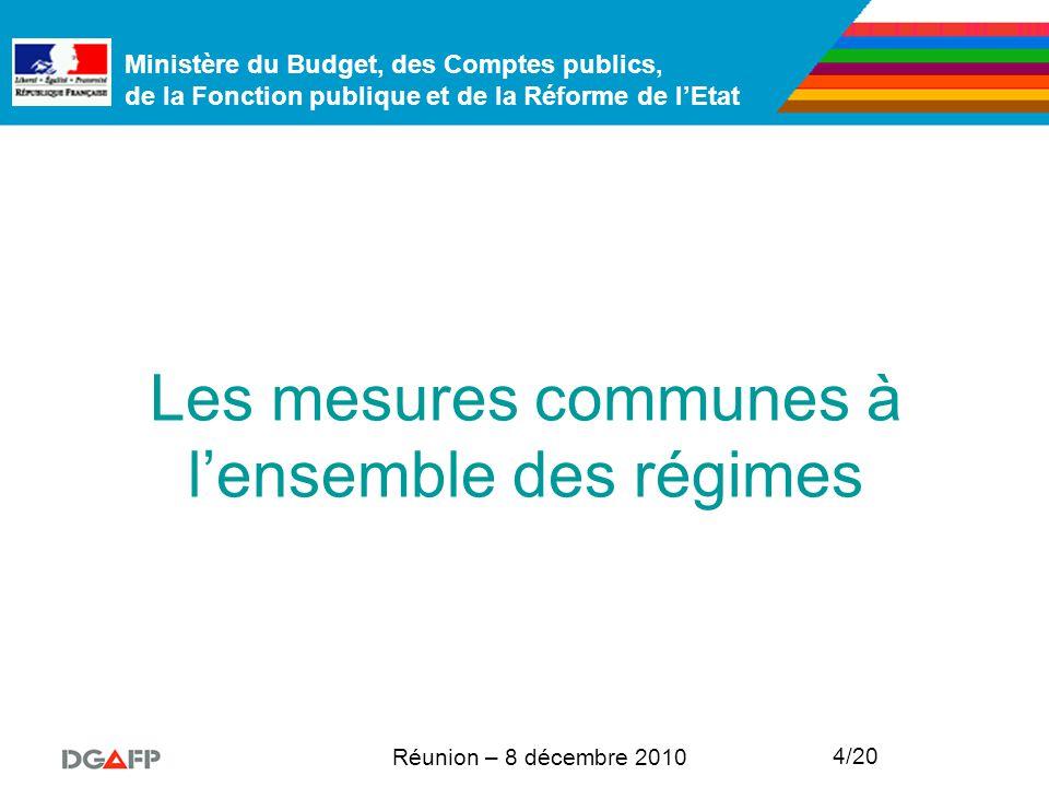 Ministère du Budget, des Comptes publics, de la Fonction publique et de la Réforme de l'Etat Réunion – 8 décembre 2010 4/20 Les mesures communes à l'ensemble des régimes