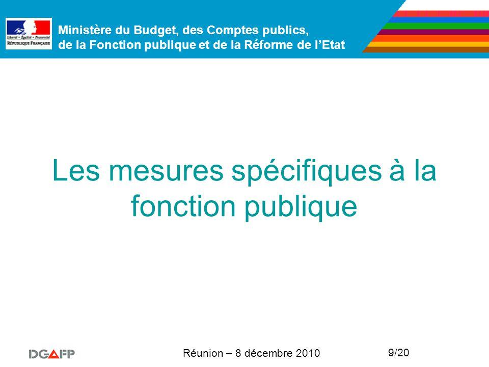 Ministère du Budget, des Comptes publics, de la Fonction publique et de la Réforme de l'Etat Réunion – 8 décembre 2010 9/20 Les mesures spécifiques à la fonction publique