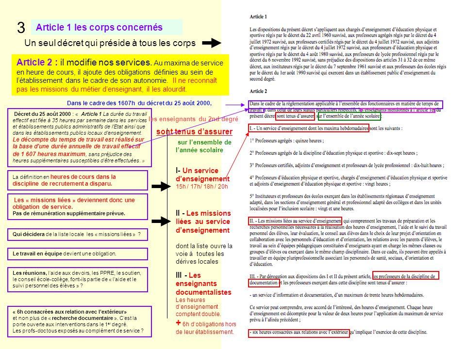 Article 1 les corps concernés 3 Un seul décret qui préside à tous les corps Article 2 : il modifie nos services. Au maxima de service en heure de cour