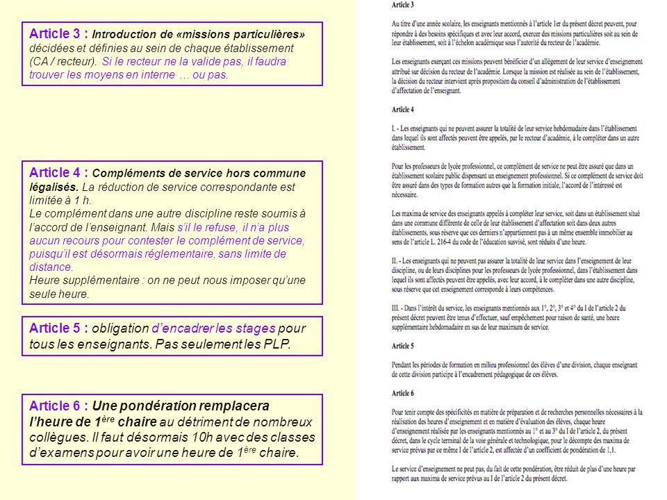 Article 3 : Introduction de «missions particulières» décidées et définies au sein de chaque établissement (CA / recteur). Si le recteur ne la valide p