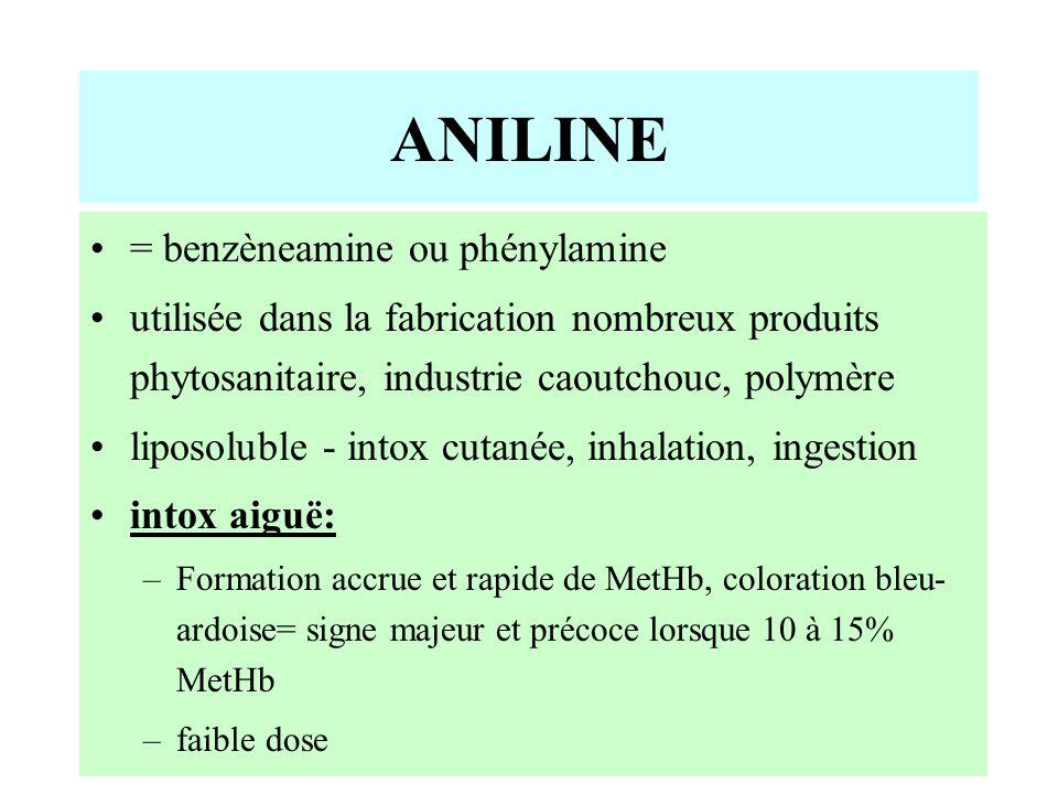 ANILINE = benzèneamine ou phénylamine utilisée dans la fabrication nombreux produits phytosanitaire, industrie caoutchouc, polymère liposoluble - intox cutanée, inhalation, ingestion intox aiguë: –Formation accrue et rapide de MetHb, coloration bleu- ardoise= signe majeur et précoce lorsque 10 à 15% MetHb –faible dose