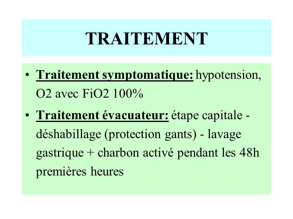 TRAITEMENT Traitement symptomatique: hypotension, O2 avec FiO2 100% Traitement évacuateur: étape capitale - déshabillage (protection gants) - lavage gastrique + charbon activé pendant les 48h premières heures