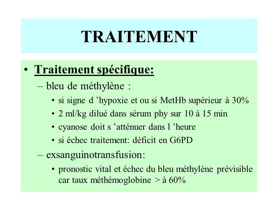 Traitement spécifique: –bleu de méthylène : si signe d 'hypoxie et ou si MetHb supérieur à 30% 2 ml/kg dilué dans sérum phy sur 10 à 15 min cyanose doit s 'atténuer dans l 'heure si échec traitement: déficit en G6PD –exsanguinotransfusion: pronostic vital et échec du bleu méthylène prévisible car taux méthémoglobine > à 60% TRAITEMENT