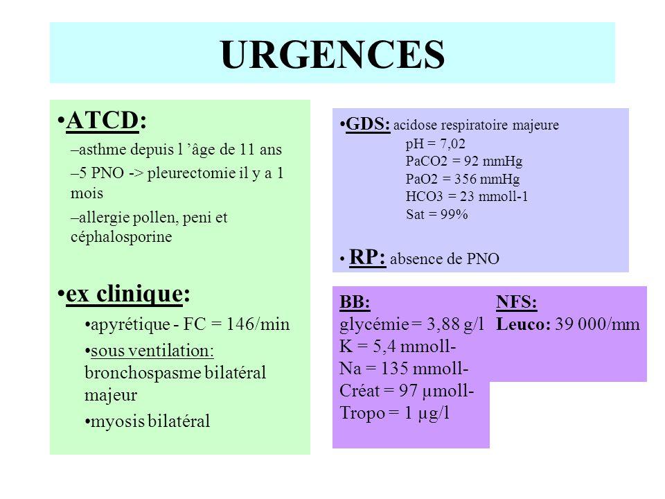 Thérapeutique: –ablation du trocart de Kuss –sédation hypnovel-fentanyl continuée –Bricanyl IV –injection de solumédrol 40 mg –Célocurine 50 mg URGENCES