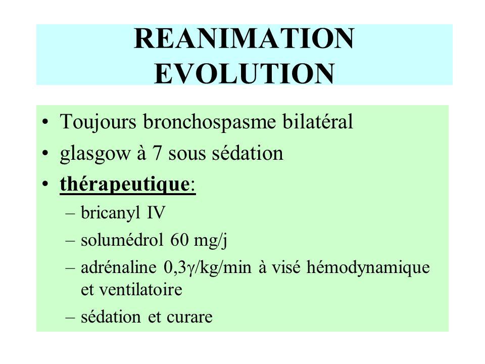 REANIMATION EVOLUTION Toujours bronchospasme bilatéral glasgow à 7 sous sédation thérapeutique: –bricanyl IV –solumédrol 60 mg/j –adrénaline 0,3  /kg/min à visé hémodynamique et ventilatoire –sédation et curare