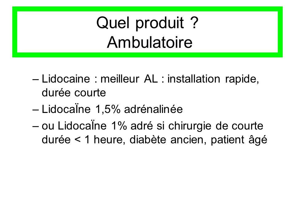 Quel produit ? Ambulatoire –Lidocaine : meilleur AL : installation rapide, durée courte –LidocaÏne 1,5% adrénalinée –ou LidocaÏne 1% adré si chirurgie
