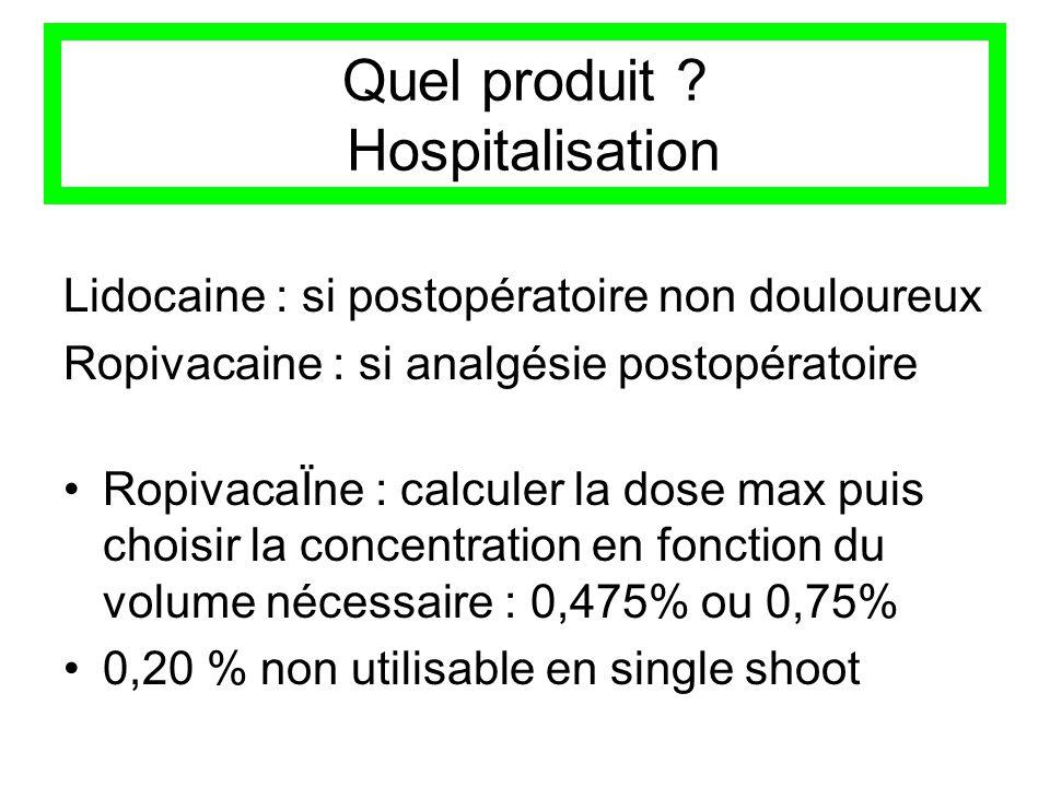Quel produit ? Hospitalisation Lidocaine : si postopératoire non douloureux Ropivacaine : si analgésie postopératoire RopivacaÏne : calculer la dose m