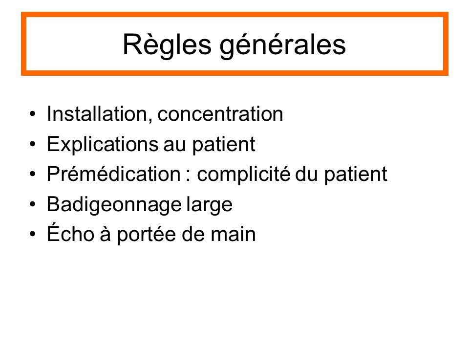 Règles générales Installation, concentration Explications au patient Prémédication : complicité du patient Badigeonnage large Écho à portée de main