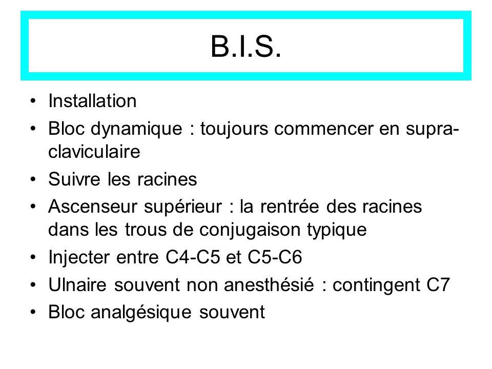 B.I.S. Installation Bloc dynamique : toujours commencer en supra- claviculaire Suivre les racines Ascenseur supérieur : la rentrée des racines dans le