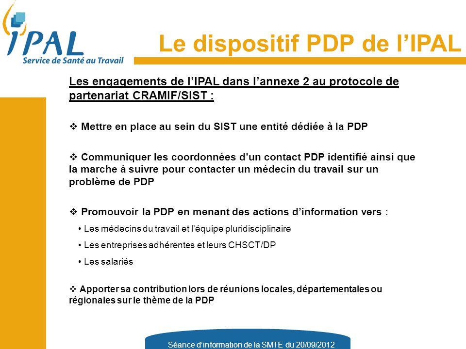 Séance d'information de la SMTE du 20/09/2012 Le dispositif PDP de l'IPAL Les engagements de l'IPAL dans l'annexe 2 au protocole de partenariat CRAMIF/SIST :  Mettre en place au sein du SIST une entité dédiée à la PDP  Communiquer les coordonnées d'un contact PDP identifié ainsi que la marche à suivre pour contacter un médecin du travail sur un problème de PDP  Promouvoir la PDP en menant des actions d'information vers : Les médecins du travail et l'équipe pluridisciplinaire Les entreprises adhérentes et leurs CHSCT/DP Les salariés  Apporter sa contribution lors de réunions locales, départementales ou régionales sur le thème de la PDP