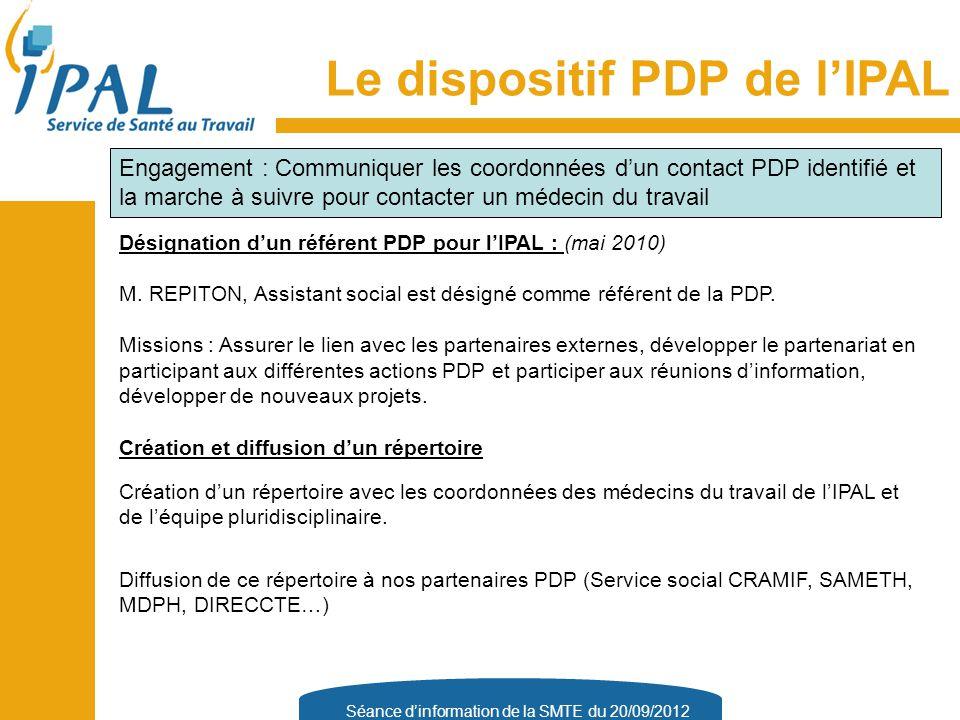 Séance d'information de la SMTE du 20/09/2012 Désignation d'un référent PDP pour l'IPAL : (mai 2010) M.