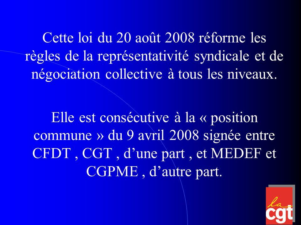 Bernard THIBAUT disait à propos de cette signature: « La principale raison qui conduit la CGT à approuver ce texte réside dans le fait que le sens des propositions et des modifications suggérées marque un tournant de plusieurs décennies de dispositions conçues très largement pour essayer de contourner la représentativité réelle de la CGT auprès des salariés.