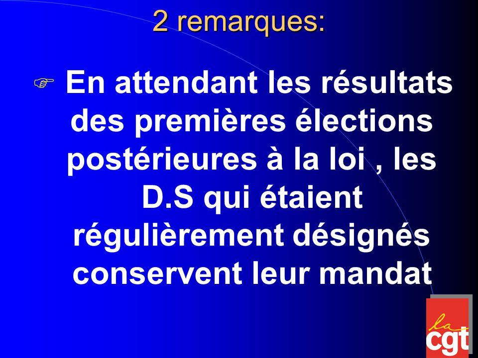 2 remarques:  En attendant les résultats des premières élections postérieures à la loi, les D.S qui étaient régulièrement désignés conservent leur mandat