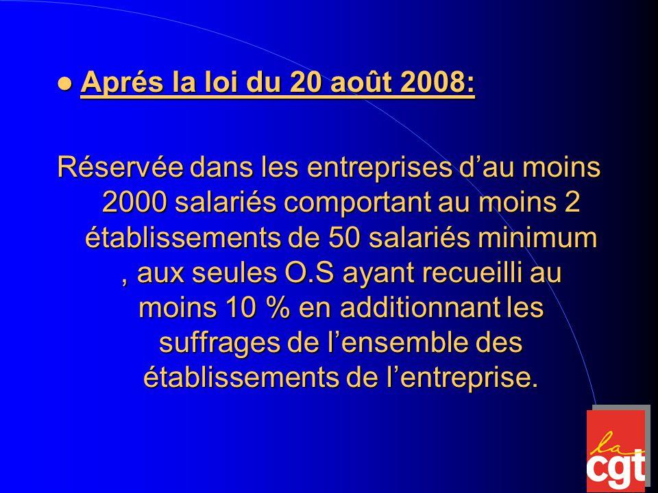 Aprés la loi du 20 août 2008: Aprés la loi du 20 août 2008: Réservée dans les entreprises d'au moins 2000 salariés comportant au moins 2 établissements de 50 salariés minimum, aux seules O.S ayant recueilli au moins 10 % en additionnant les suffrages de l'ensemble des établissements de l'entreprise.