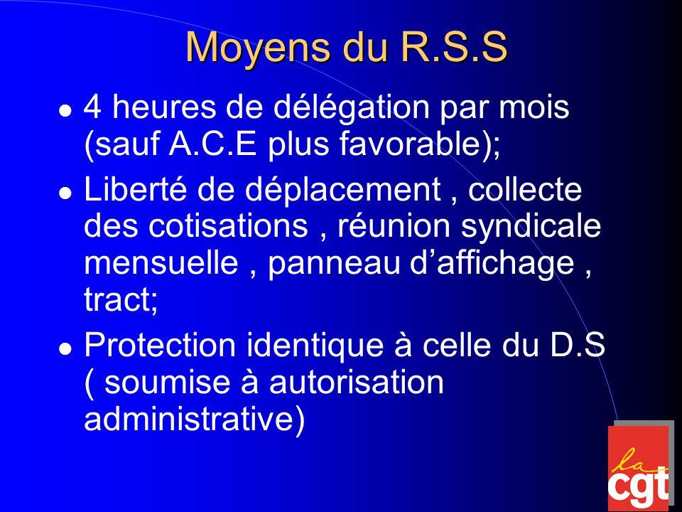 Moyens du R.S.S 4 heures de délégation par mois (sauf A.C.E plus favorable); Liberté de déplacement, collecte des cotisations, réunion syndicale mensuelle, panneau d'affichage, tract; Protection identique à celle du D.S ( soumise à autorisation administrative)