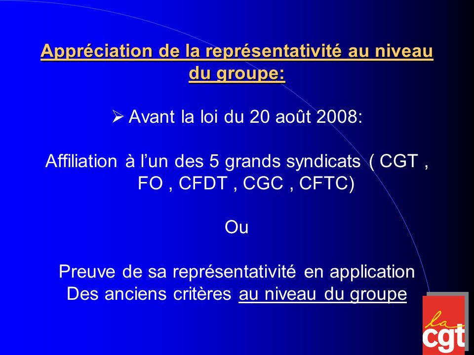 Appréciation de la représentativité au niveau du groupe:  Avant la loi du 20 août 2008: Affiliation à l'un des 5 grands syndicats ( CGT, FO, CFDT, CGC, CFTC) Ou Preuve de sa représentativité en application Des anciens critères au niveau du groupe