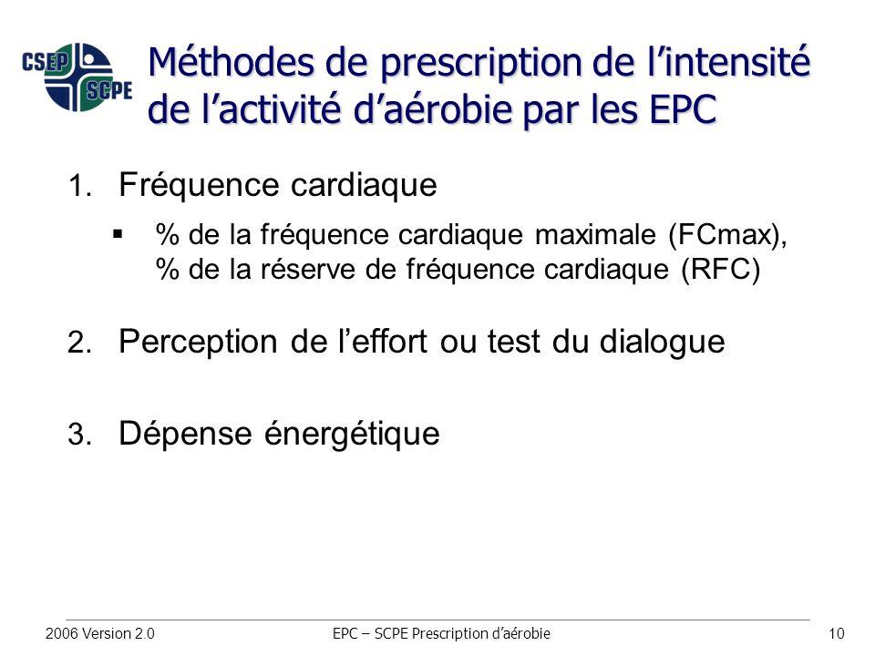 2006 Version 2.010 Méthodes de prescription de l'intensité de l'activité d'aérobie par les EPC 1.