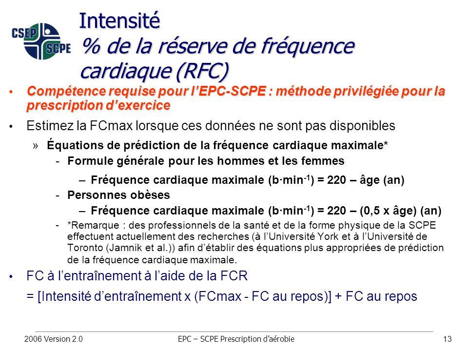 2006 Version 2.013 Intensité % de la réserve de fréquence cardiaque (RFC) Compétence requise pour l'EPC-SCPE : méthode privilégiée pour la prescription d'exercice Compétence requise pour l'EPC-SCPE : méthode privilégiée pour la prescription d'exercice Estimez la FCmax lorsque ces données ne sont pas disponibles »Équations de prédiction de la fréquence cardiaque maximale* Formule générale pour les hommes et les femmes –Fréquence cardiaque maximale (b∙min -1 ) = 220 – âge (an) Personnes obèses –Fréquence cardiaque maximale (b∙min -1 ) = 220 – (0,5 x âge) (an) *Remarque : des professionnels de la santé et de la forme physique de la SCPE effectuent actuellement des recherches (à l'Université York et à l'Université de Toronto (Jamnik et al.)) afin d'établir des équations plus appropriées de prédiction de la fréquence cardiaque maximale.
