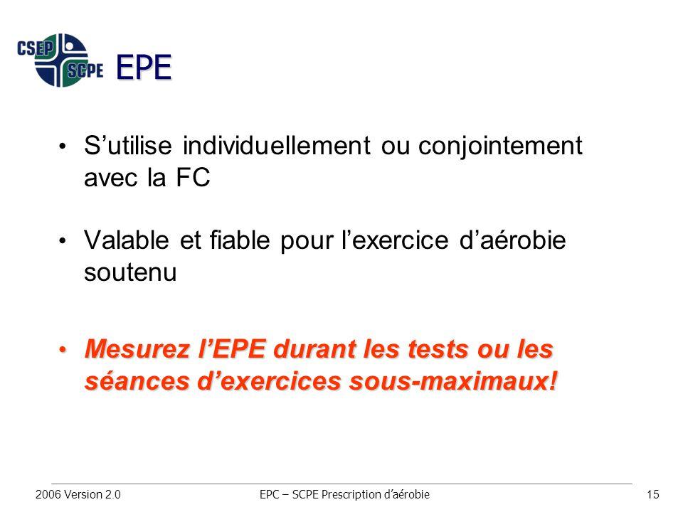 2006 Version 2.015 EPE S'utilise individuellement ou conjointement avec la FC Valable et fiable pour l'exercice d'aérobie soutenu Mesurez l'EPE durant les tests ou les séances d'exercices sous-maximaux.