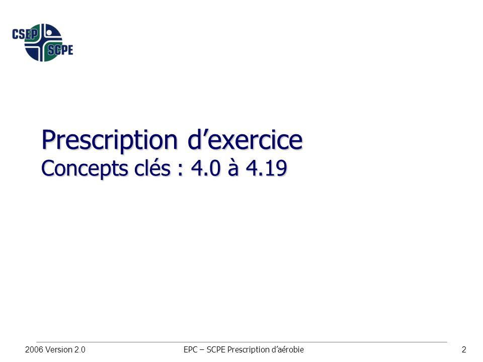 2006 Version 2.02 Prescription d'exercice Concepts clés : 4.0 à 4.19 EPC – SCPE Prescription d'aérobie