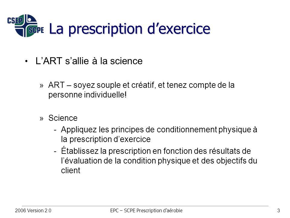 2006 Version 2.03 La prescription d'exercice L'ART s'allie à la science »ART – soyez souple et créatif, et tenez compte de la personne individuelle.