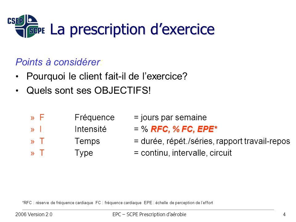 2006 Version 2.04 La prescription d'exercice Points à considérer: Pourquoi le client fait-il de l'exercice.