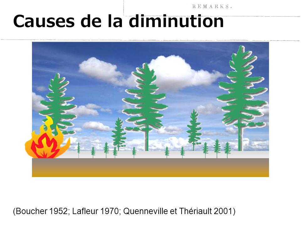 Causes de la diminution (Boucher 1952; Lafleur 1970; Quenneville et Thériault 2001)