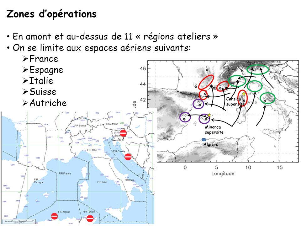 Zones d'opérations En amont et au-dessus de 11 « régions ateliers » On se limite aux espaces aériens suivants:  France  Espagne  Italie  Suisse  Autriche