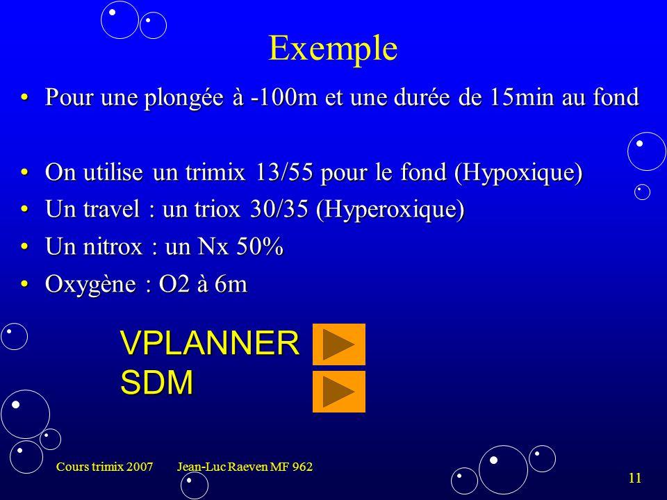 11 Cours trimix 2007 Jean-Luc Raeven MF 962 Exemple Pour une plongée à -100m et une durée de 15min au fondPour une plongée à -100m et une durée de 15m