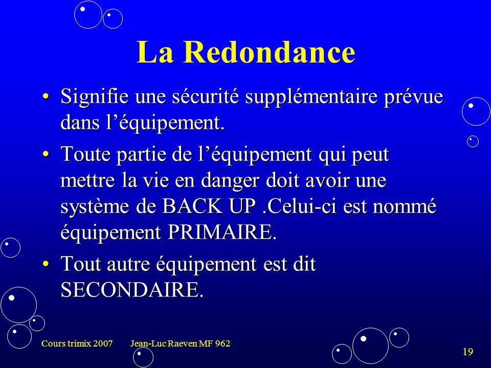 19 Cours trimix 2007 Jean-Luc Raeven MF 962 La Redondance Signifie une sécurité supplémentaire prévue dans l'équipement.Signifie une sécurité suppléme