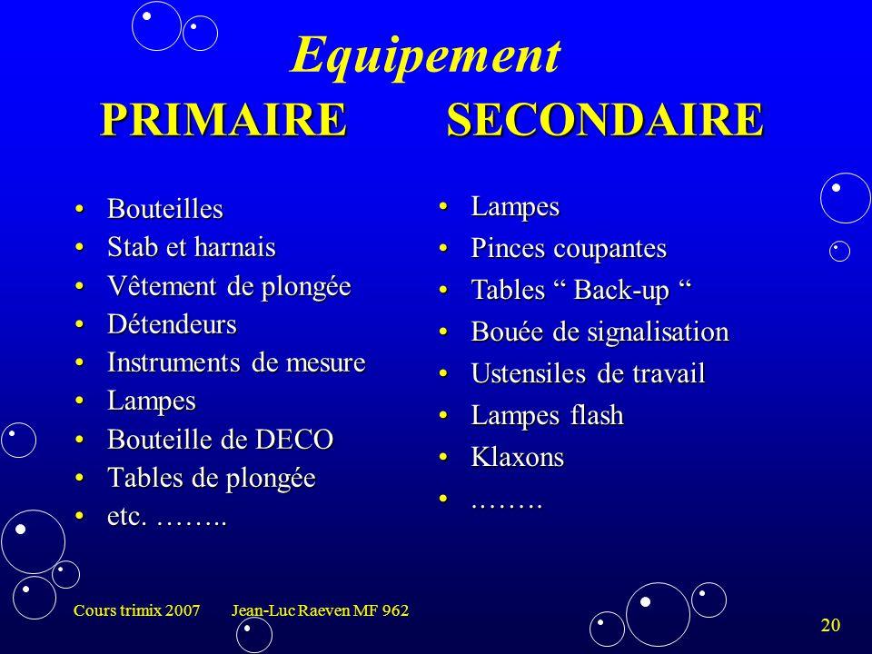 20 Cours trimix 2007 Jean-Luc Raeven MF 962 BouteillesBouteilles Stab et harnaisStab et harnais Vêtement de plongéeVêtement de plongée DétendeursDéten