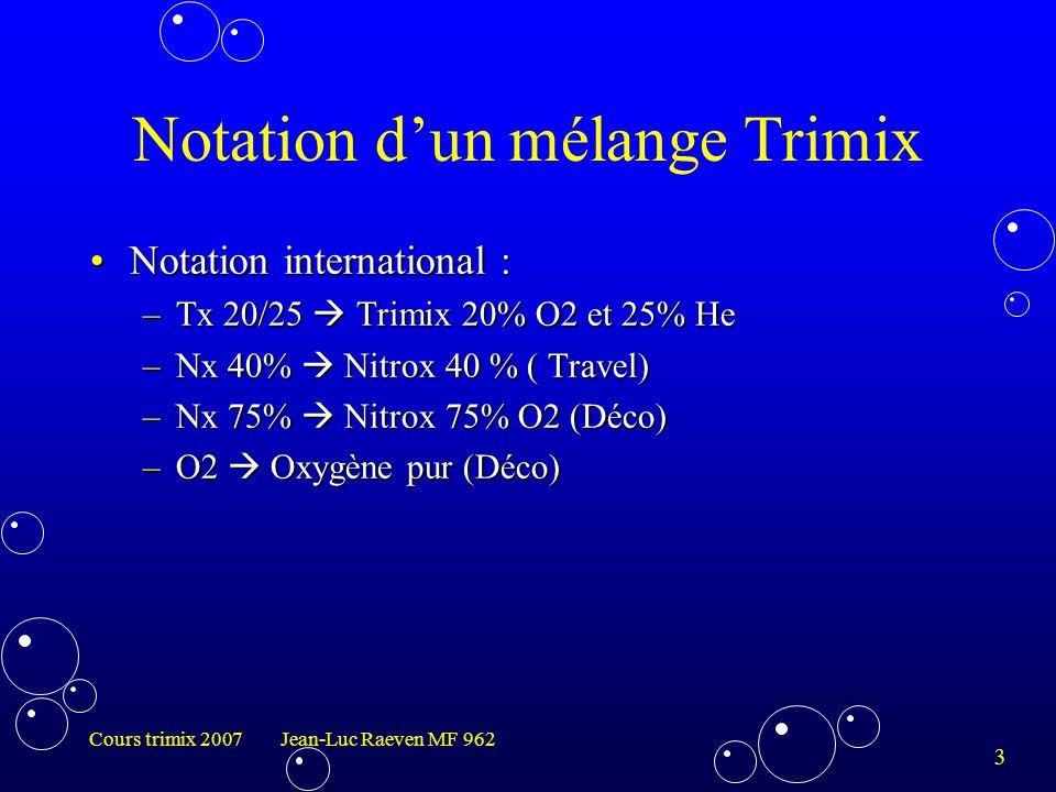 4 Cours trimix 2007 Jean-Luc Raeven MF 962 Différent mélange possible Nitrox (Utilisé pour la Déco ou Travel)Nitrox (Utilisé pour la Déco ou Travel) Héliar ( facile à fabriqué, toujours hypoxique)Héliar ( facile à fabriqué, toujours hypoxique) Héliox (Cher, SNHP > 120m)Héliox (Cher, SNHP > 120m) Hydrox (difficile à fabriqué, pour plongée très profonde)Hydrox (difficile à fabriqué, pour plongée très profonde) Hydréliox (Conçu pour diminuer le SNHP)Hydréliox (Conçu pour diminuer le SNHP) Trimix (est le plus répandu en plongée technique, pour une utilisation courante jusqu'à -130 m, SNHP >150m)Trimix (est le plus répandu en plongée technique, pour une utilisation courante jusqu'à -130 m, SNHP >150m)