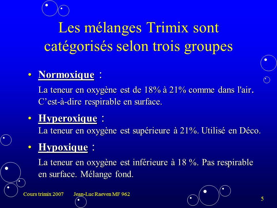 5 Cours trimix 2007 Jean-Luc Raeven MF 962 Les mélanges Trimix sont catégorisés selon trois groupes Normoxique : La teneur en oxygène est de 18% à 21%