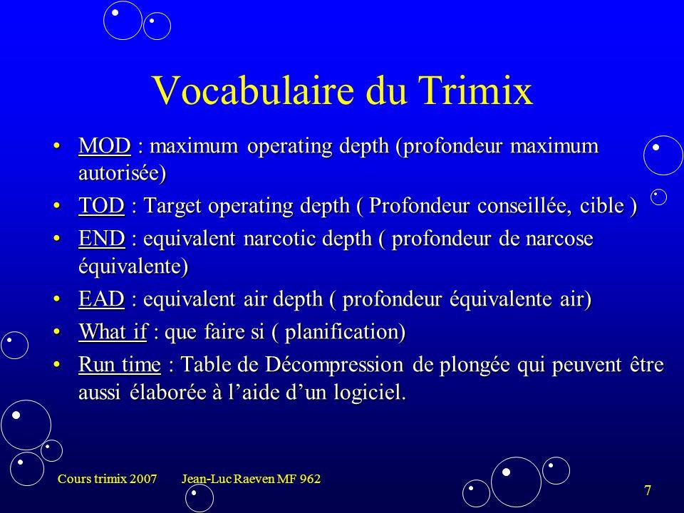 8 Cours trimix 2007 Jean-Luc Raeven MF 962 Les différents logiciels du marchéLes différents logiciels du marché ProplannerProplanner DecoplannerDecoplanner GapGap VplannerVplanner HlplannerHlplanner Etc …Etc … Vocabulaire du Trimix