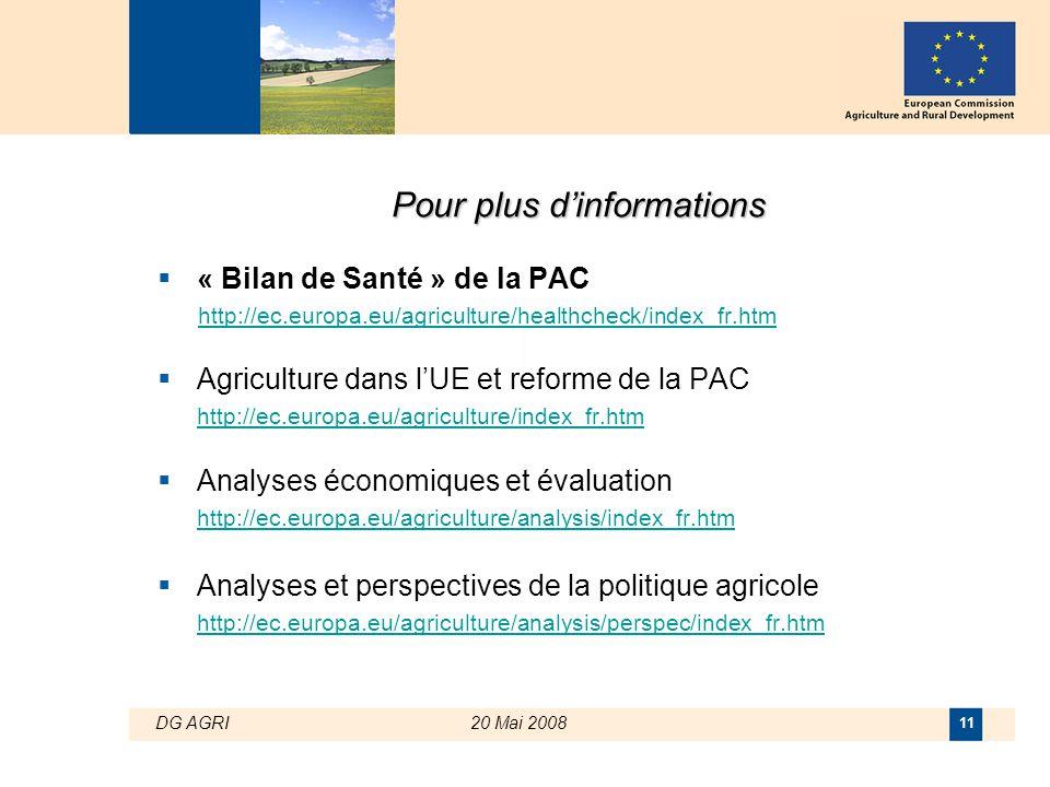 DG AGRI20 Mai 2008 11 Pour plus d'informations  « Bilan de Santé » de la PAC http://ec.europa.eu/agriculture/healthcheck/index_fr.htm  Agriculture d