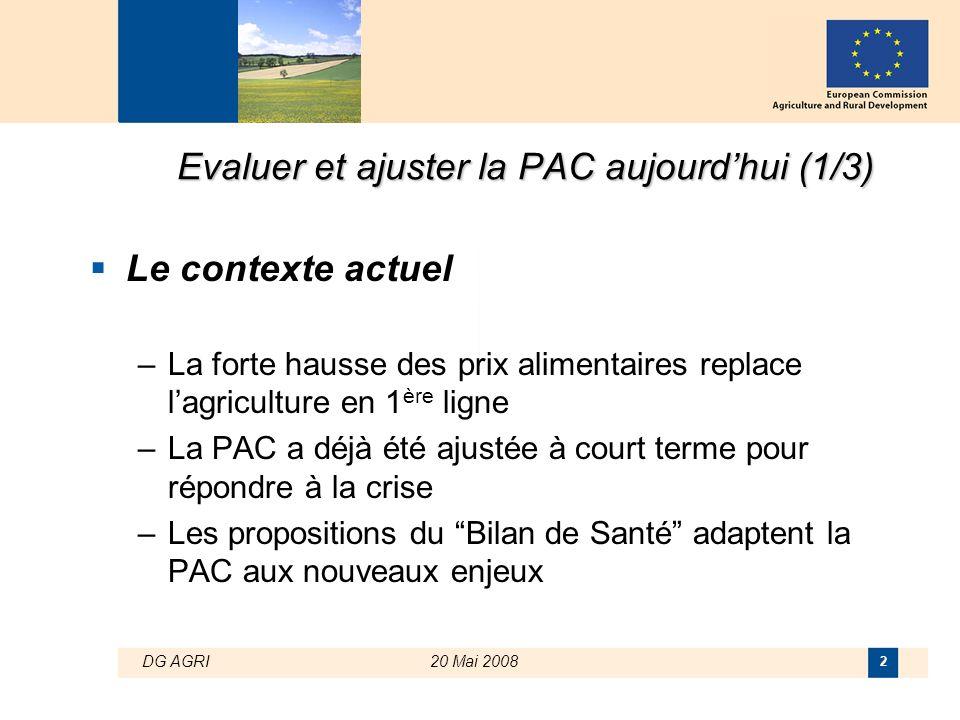 DG AGRI20 Mai 2008 2 Evaluer et ajuster la PAC aujourd'hui (1/3)  Le contexte actuel –La forte hausse des prix alimentaires replace l'agriculture en