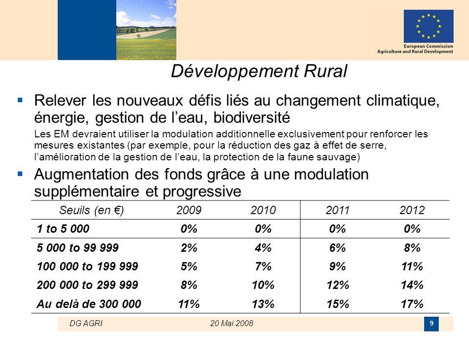 DG AGRI20 Mai 2008 9 Développement Rural  Relever les nouveaux défis liés au changement climatique, énergie, gestion de l'eau, biodiversité Les EM de
