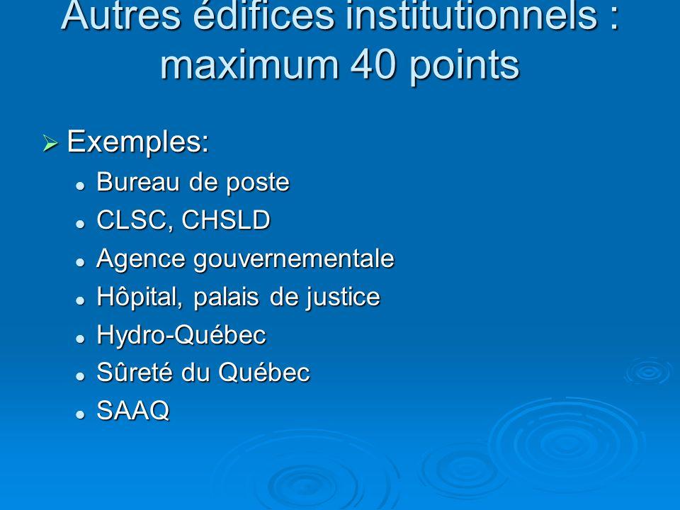 Autres édifices institutionnels : maximum 40 points  Exemples: Bureau de poste Bureau de poste CLSC, CHSLD CLSC, CHSLD Agence gouvernementale Agence