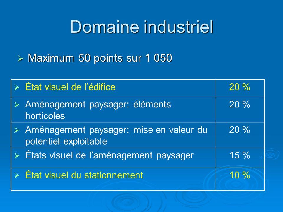 Domaine industriel  Maximum 50 points sur 1 050  État visuel de l'édifice20 %  Aménagement paysager: éléments horticoles 20 %  Aménagement paysage
