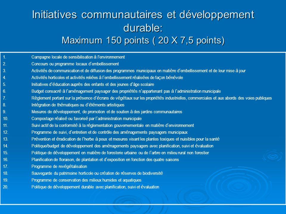 Initiatives communautaires et développement durable: Maximum 150 points ( 20 X 7,5 points) 1.Campagne locale de sensibilisation à l environnement 2.Concours ou programme locaux d ' embellissement 3.Activit é s de communication et de diffusion des programmes municipaux en mati è re d ' embellissement et de leur mise à jour 4.Activit é s horticoles et activit é s reli é es à l ' embellissement r é alis é es de fa ç on b é n é vole 5.Initiatives d 'é ducation aupr è s des enfants et des jeunes d ' âge scolaire 6.Budget consacr é à l ' am é nagement paysager des propri é t é s n ' appartenant pas à l ' administration municipale 7.R è glement portant sur la pr é sence d 'é crans de v é g é taux sur les propri é t é s industrielles, commerciales et aux abords des voies publiques 8.Int é gration de th é matiques ou d 'é l é ments artistiques 9.Mesures de d é veloppement, de promotion et de soutien à des jardins communautaires 10.Compostage r é alis é ou favoris é par l ' administration municipale 11.Suivi actif de la conformit é à la r é glementation gouvernementale en mati è re d ' environnement 12.Programme de suivi, d ' entretien et de contrôle des am é nagements paysagers municipaux 13.Pr é vention et é radication de l ' herbe à poux et mesures visant les plantes toxiques et nuisibles pour la sant é 14.Politique/budget de d é veloppement des am é nagements paysagers avec planification, suivi et é valuation 15.Politique de d é veloppement en mati è re de foresterie urbaine ou de l ' arbre en milieu rural non forestier 16.Planification de floraison, de plantation et d ' exposition en fonction des quatre saisons 17.Programme de rev é g é talisation 18.Sauvegarde du patrimoine horticole ou cr é ation de r é serves de biodiversit é 19.Programme de conservation des milieux humides et aquatiques 20.Politique de d é veloppement durable avec planification, suivi et é valuation